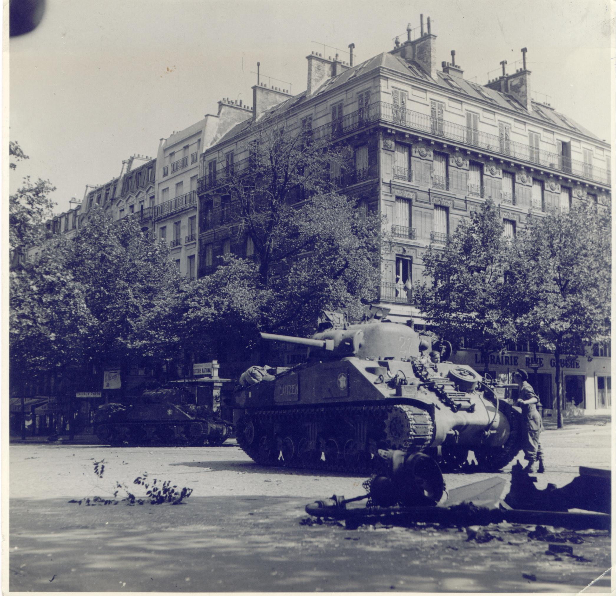 25 Août 1944, Lutzen en combat, Boulevard Saint Michel. Marcel Guénan.