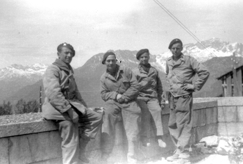 L-R Adjudant Albert Parmentier, Jean Brissé, Georges Dornois and Philippe Bey-Rozet on Platterhof balcony.